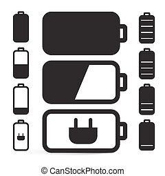 Flat Design Black Battery Life Vector Icons Set Isolated on White Background
