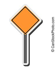 blank yellow street sign icon