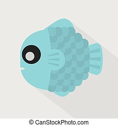 Flat Design Blue Fish Icon Vector.