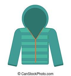 winter jacket icon - flat design blue hooded winter jacket...
