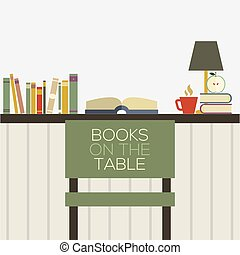 Flat Design Books On Table Vector