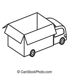flat design box truck icon vector illustration