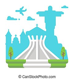 Flat design Brasila cathedral
