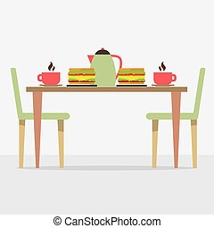 Flat Design Breakfast On Table Vector Illustration