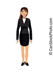 flat design brunette business woman icon vector illustration