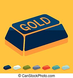 Flat design: bullion gold