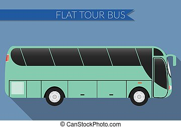 Flat design bus icon