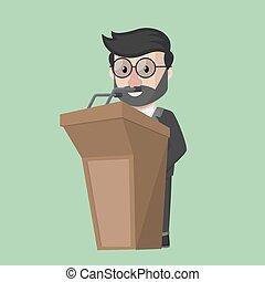 Flat design business man in podium
