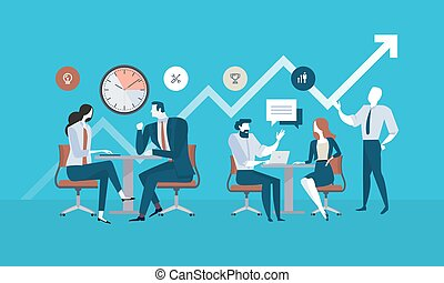Flat design business people concept for project management, business meeting, working process