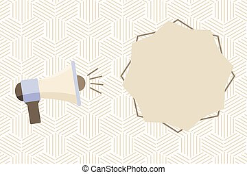 Flat design business Vector Illustration concept Empty copy space modern abstract background Geometric element Megaphone with Sound Volume Effect icon and Blank 8 Pointed Star shape
