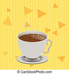 Flat design business Vector Illustration concept Empty copy text for esp Web banners promotional material mock up template Levitating Cup of Hot Steaming Drink with Saucer Zero Gravity Dishware