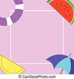 Flat design business Vector Illustration concept Empty copy text for esp Web banners promotional material mock up template Things related to Summertime Beach items on four corners with center space