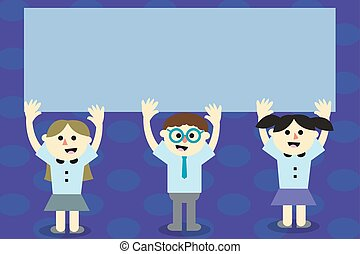 Flat design business Vector Illustration concept Empty template copy space isolated Posters coupons promotional material Three School Kids with both Arms Raising upward are Singing Smiling Talking