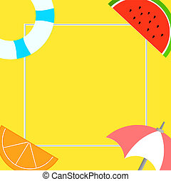 Flat design business Vector Illustration concept Empty template copy space text for Ad website esp isolated 3d isometric Things related to Summertime Beach items on four corners with center space