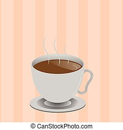 Flat design business Vector Illustration concept Empty template copy space text for Ad website esp isolated 3d isometric Levitating Cup of Hot Steaming Drink with Saucer Zero Gravity Dishware