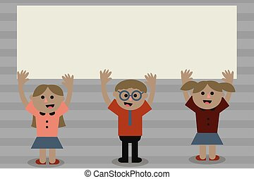 Flat design business Vector Illustration concept Empty template copy space text For promotion website and advertising Ad Three School Kids with both Arms Raising upward are Singing Smiling Talking