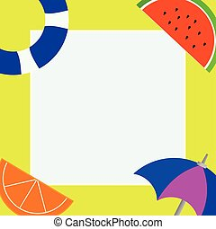 Flat design business Vector Illustration creative concept template copy space text for Ad website promotion esp isolated Things related to Summertime Beach items on four corners with center space