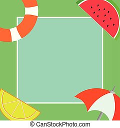 Flat design business Vector Illustration Empty copy space text for Ad website promotion esp isolated Banner template Things related to Summertime Beach items on four corners with center space