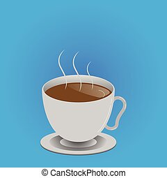 Flat design business Vector Illustration Empty copy space text for Ad website promotion esp isolated Banner template Levitating Cup of Hot Steaming Drink with Saucer Zero Gravity Dishware
