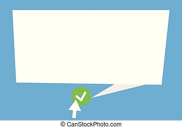 Flat design business Vector Illustration Empty template esp isolated Minimalist graphic layout template for advertising Blank Speech Bubble Tail Pointing green Tick Arrow pressing round button