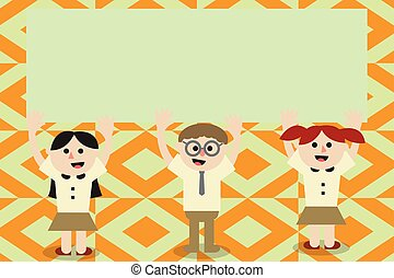 Flat design business Vector Illustration Empty template esp isolated Minimalist graphic layout template for advertising Three School Kids with both Arms Raising upward are Singing Smiling Talking