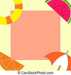 Flat design business Vector Illustration Empty template esp isolated Minimalist graphic layout template for advertising Things related to Summertime Beach items on four corners with center space