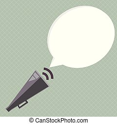 Flat design business Vector Illustration Empty template esp isolated Minimalist graphic layout template for advertising Piped Megaphone with Sound Effect icon and Blank Halftone Speech Bubble