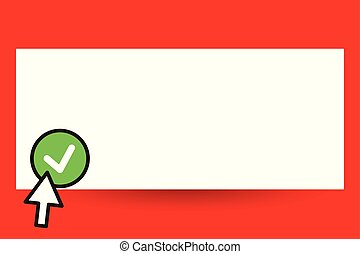 Flat design business Vector Illustration Empty template for Layout for invitation greeting card promotion poster voucher Arrow cursor pointing upward to Round Button Pointer Tapping Green tick