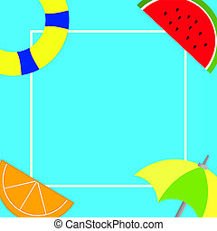 Flat design business Vector Illustration Empty template for Layout for invitation greeting card promotion poster voucher Things related to Summertime Beach items on four corners with center space