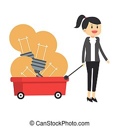 business woman pulling wagon with lightbulbs icon