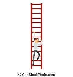 businessman climbing the ladder icon