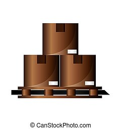 cardboard boxes on wooden pallet icon