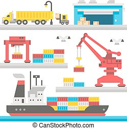Flat design cargo port equipment illustration vector