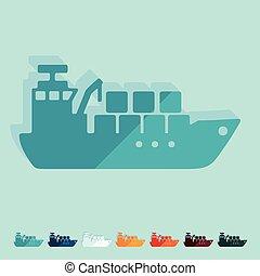 Flat design: cargo ship