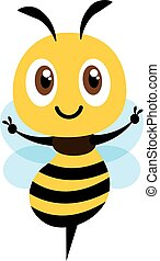 Flat design cartoon cute bee showing Victory hand sign. Flat design vector illustration isolated
