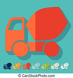 Flat design: Cement Mixer