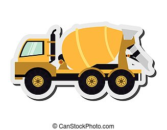 cement mixer truck icon - flat design cement mixer truck ...