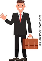 Flat Design Character Businessman with Briefcase. Vector