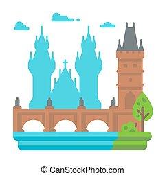 Flat design Charles Bridge Prague