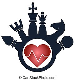 Flat Design Chess Figures, heart. illustration of love to chess
