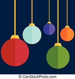 Flat design christmas balls. Vector illustration
