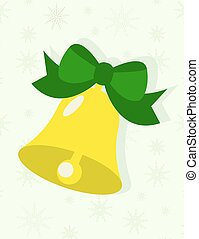Flat design Christmas Bell with ribbon on green background with snowflakes