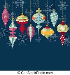 Flat design Christmas card with Christmas balls