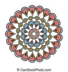 circular multicolored decorative line mandala icon - flat...