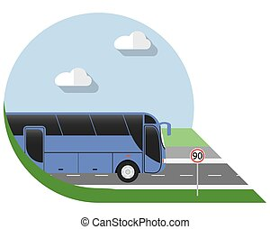 Flat design city bus icon