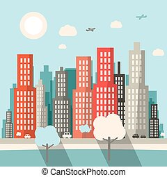 Flat Design City Vector Illustration