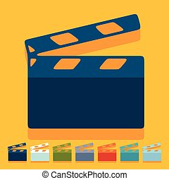 Flat design: clapper cinema