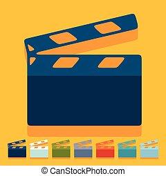 Flat design: clapper cinema