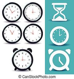 Flat Design Clock Icons Set. Vector, illustration eps10