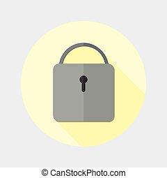 Flat design closed padlock icon